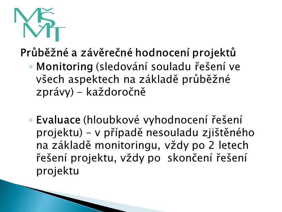Průběžné a závěrečné hodnocení projektů ◦ Monitoring (sledování souladu řešení ve všech aspektech na základě průběžné zprávy) - každoročně ◦ Evaluace
