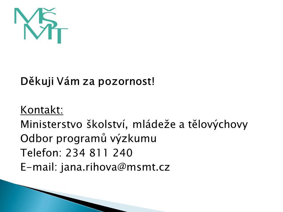 Děkuji Vám za pozornost! Kontakt: Ministerstvo školství, mládeže a tělovýchovy Odbor programů výzkumu Telefon: 234 811 240 E-mail: jana.rihova@msmt.cz