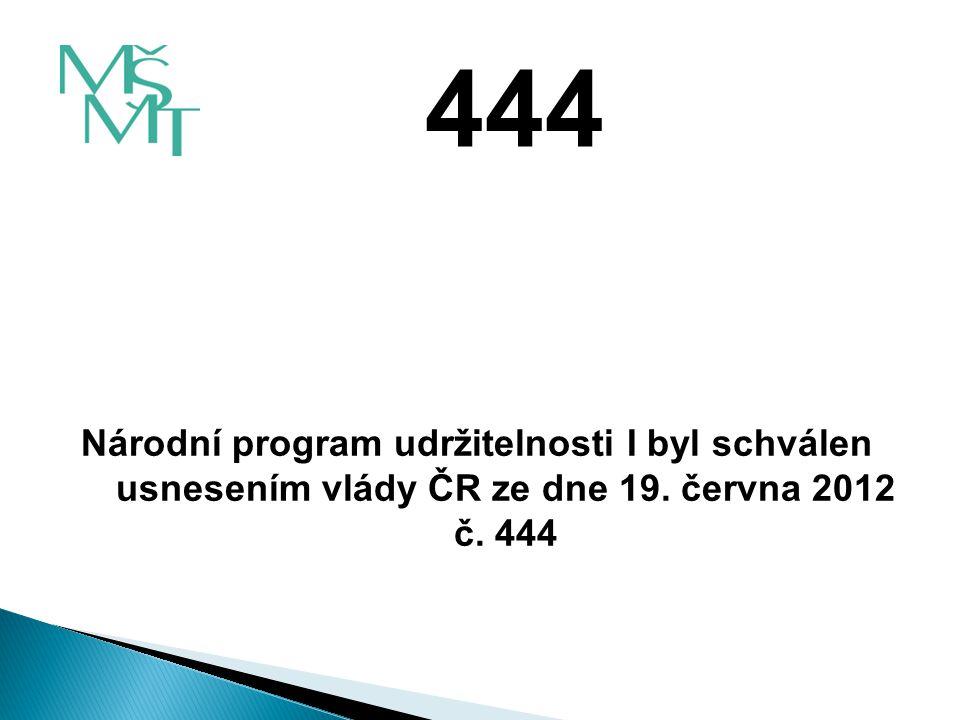 Národní program udržitelnosti I byl schválen usnesením vlády ČR ze dne 19. června 2012 č. 444 444