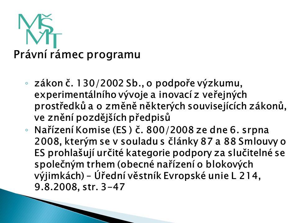 Právní rámec programu ◦ zákon č. 130/2002 Sb., o podpoře výzkumu, experimentálního vývoje a inovací z veřejných prostředků a o změně některých souvise