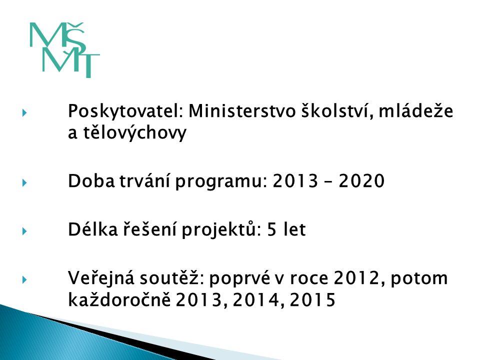  Poskytovatel: Ministerstvo školství, mládeže a tělovýchovy  Doba trvání programu: 2013 – 2020  Délka řešení projektů: 5 let  Veřejná soutěž: popr