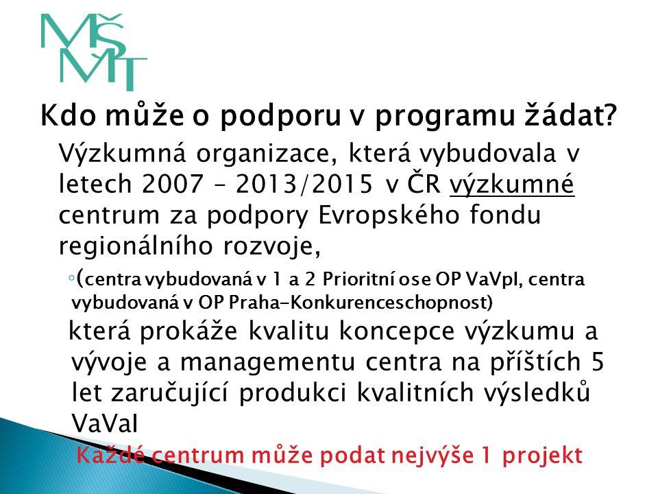 Kdo může o podporu v programu žádat? Výzkumná organizace, která vybudovala v letech 2007 – 2013/2015 v ČR výzkumné centrum za podpory Evropského fondu