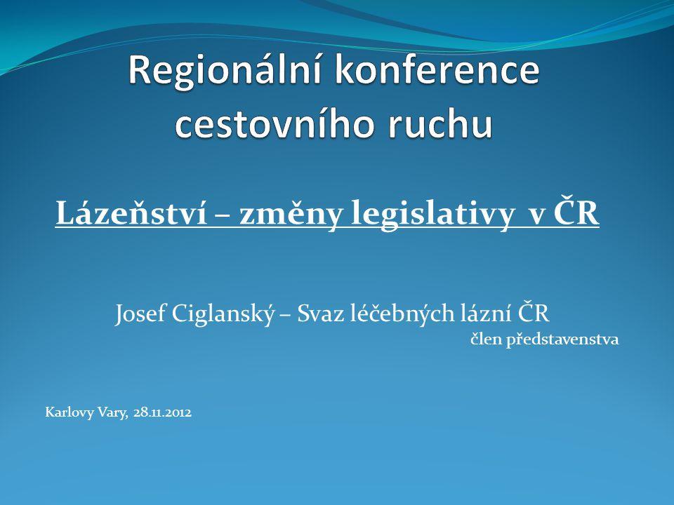 Lázeňství – změny legislativy v ČR Josef Ciglanský – Svaz léčebných lázní ČR člen představenstva Karlovy Vary, 28.11.2012