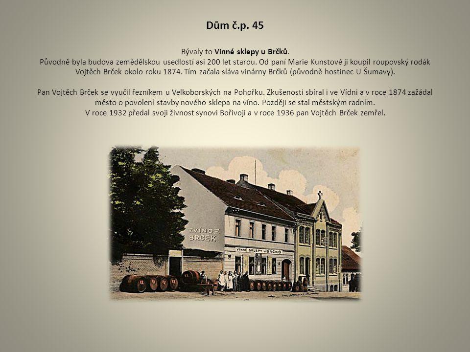 Dům č.p. 45 Bývaly to Vinné sklepy u Brčků. Původně byla budova zemědělskou usedlostí asi 200 let starou. Od paní Marie Kunstové ji koupil roupovský r