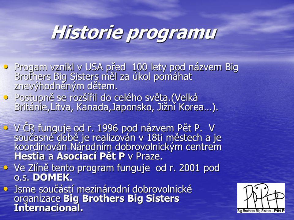 Historie programu • Progam vznikl v USA před 100 lety pod názvem Big Brothers Big Sisters měl za úkol pomáhat znevýhodněným dětem. • Postupně se rozší