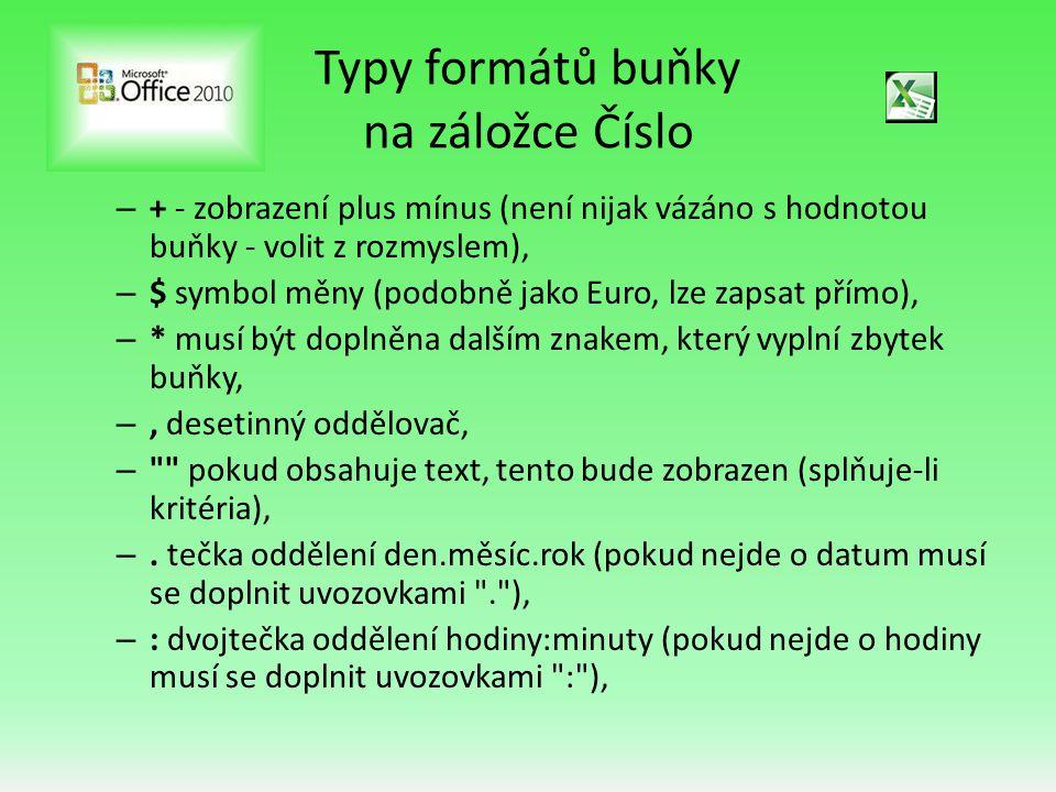 Typy formátů buňky na záložce Číslo – + - zobrazení plus mínus (není nijak vázáno s hodnotou buňky - volit z rozmyslem), – $ symbol měny (podobně jako Euro, lze zapsat přímo), – * musí být doplněna dalším znakem, který vyplní zbytek buňky, –, desetinný oddělovač, – pokud obsahuje text, tento bude zobrazen (splňuje-li kritéria), –.