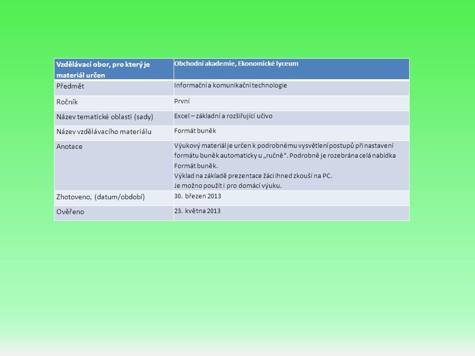 """Vzdělávací obor, pro který je materiál určen Obchodní akademie, Ekonomické lyceum Předmět Informační a komunikační technologie Ročník První Název tematické oblasti (sady) Excel – základní a rozšiřující učivo Název vzdělávacího materiálu Formát buněk Anotace Výukový materiál je určen k podrobnému vysvětlení postupů při nastavení formátu buněk automaticky u """"ručně ."""