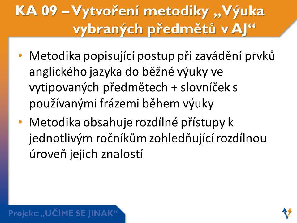 """Projekt: """"UČÍME SE JINAK"""" KA 09 – Vytvoření metodiky """"Výuka vybraných předmětů v AJ"""" • Metodika popisující postup při zavádění prvků anglického jazyka"""