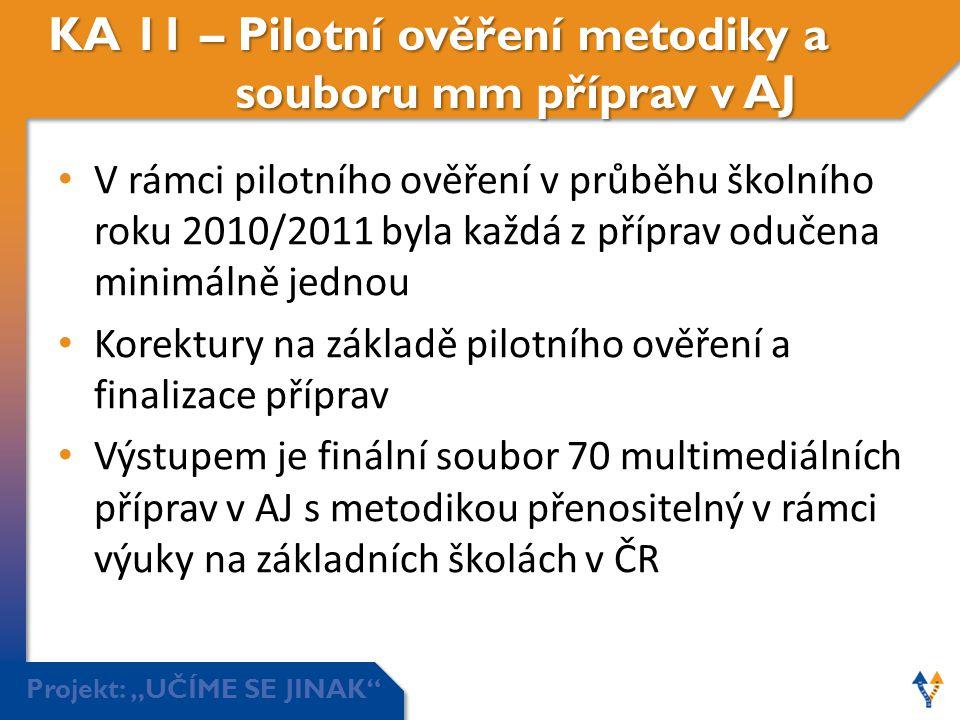 """Projekt: """"UČÍME SE JINAK"""" KA 11 – Pilotní ověření metodiky a souboru mm příprav v AJ • V rámci pilotního ověření v průběhu školního roku 2010/2011 byl"""