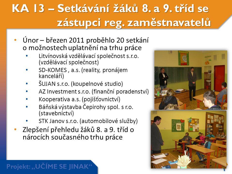 """Projekt: """"UČÍME SE JINAK"""" KA 13 – Setkávání žáků 8. a 9. tříd se zástupci reg. zaměstnavatelů • Únor – březen 2011 proběhlo 20 setkání o možnostech up"""