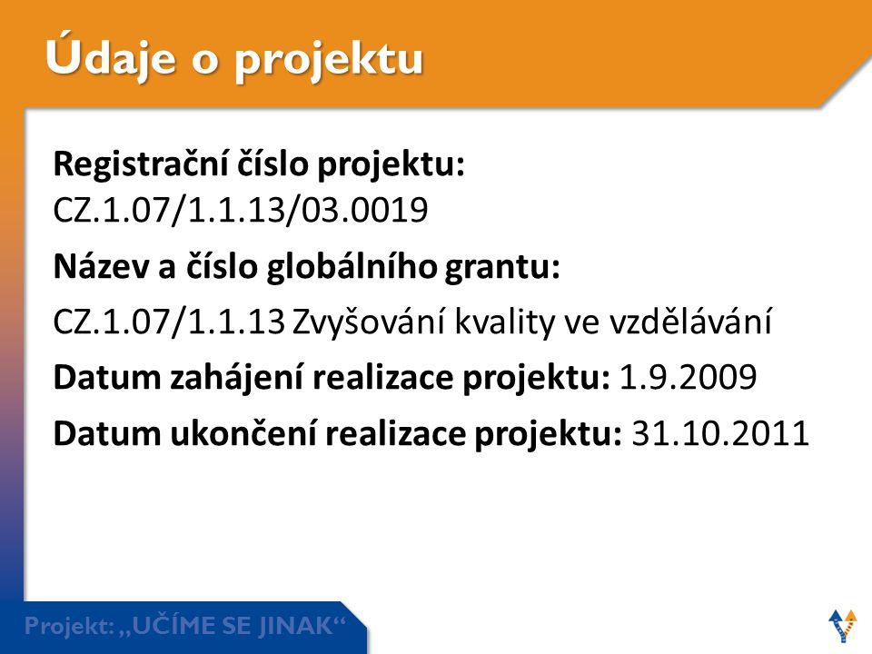 """Projekt: """"UČÍME SE JINAK"""" Údaje o projektu Registrační číslo projektu: CZ.1.07/1.1.13/03.0019 Název a číslo globálního grantu: CZ.1.07/1.1.13 Zvyšován"""