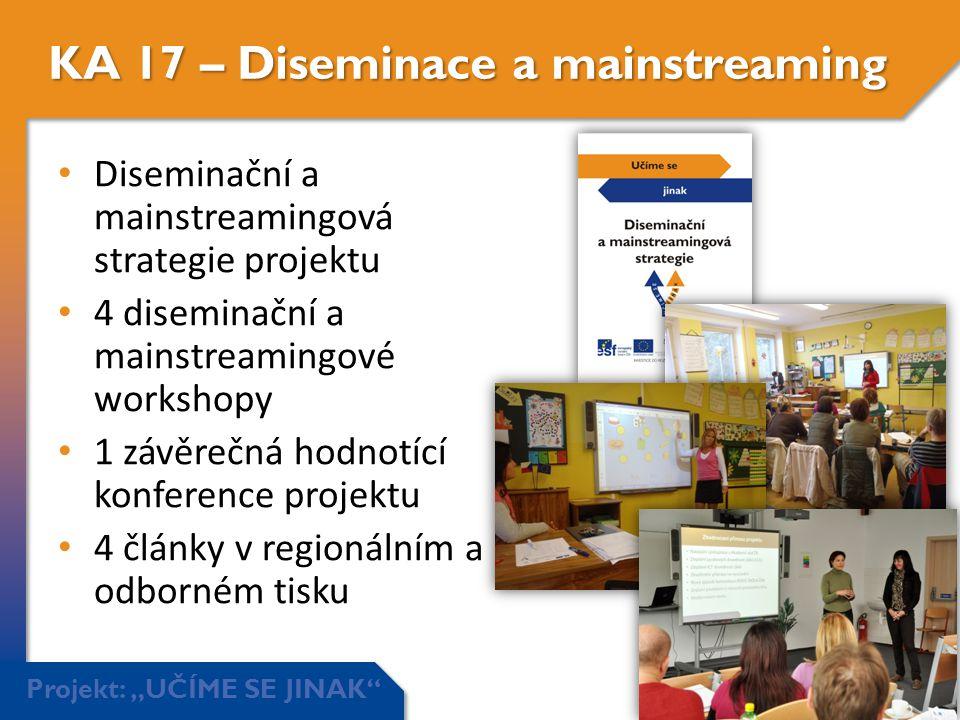 """Projekt: """"UČÍME SE JINAK"""" KA 17 – Diseminace a mainstreaming • Diseminační a mainstreamingová strategie projektu • 4 diseminační a mainstreamingové wo"""