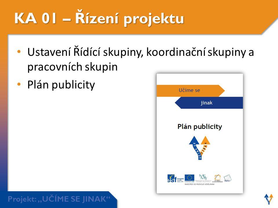 """Projekt: """"UČÍME SE JINAK"""" KA 01 – Řízení projektu • Ustavení Řídící skupiny, koordinační skupiny a pracovních skupin • Plán publicity"""