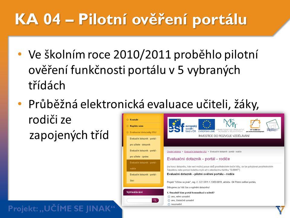 """Projekt: """"UČÍME SE JINAK"""" KA 04 – Pilotní ověření portálu • Ve školním roce 2010/2011 proběhlo pilotní ověření funkčnosti portálu v 5 vybraných třídác"""
