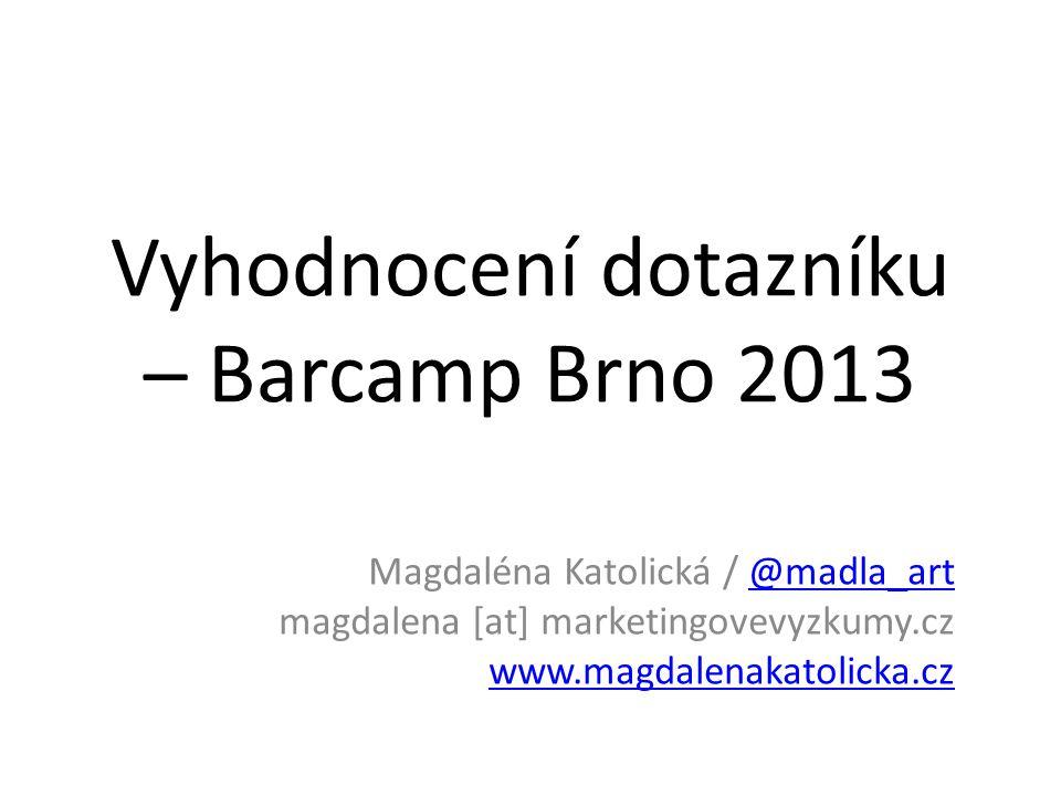 Vyhodnocení dotazníku – Barcamp Brno 2013 Magdaléna Katolická / @madla_art magdalena [at] marketingovevyzkumy.cz www.magdalenakatolicka.cz@madla_art www.magdalenakatolicka.cz
