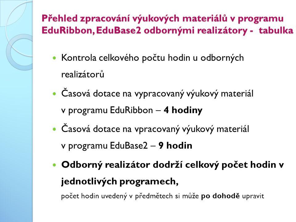 Přehled zpracování výukových materiálů v programu EduRibbon, EduBase2 odbornými realizátory - tabulka  Kontrola celkového počtu hodin u odborných rea