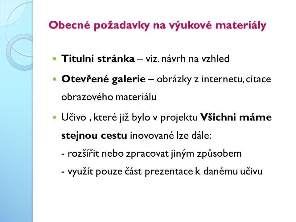 Obecné požadavky na výukové materiály  Titulní stránka – viz. návrh na vzhled  Otevřené galerie – obrázky z internetu, citace obrazového materiálu 