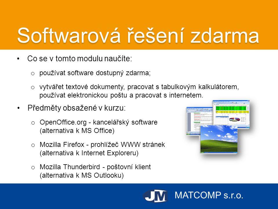 MATCOMP s.r.o. Softwarová řešení zdarma •Co se v tomto modulu naučíte: o používat software dostupný zdarma; o vytvářet textové dokumenty, pracovat s t
