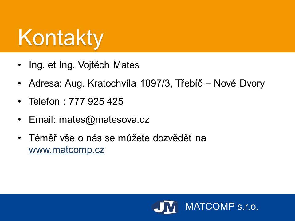 MATCOMP s.r.o.Kontakty •Ing. et Ing. Vojtěch Mates •Adresa: Aug. Kratochvíla 1097/3, Třebíč – Nové Dvory •Telefon : 777 925 425 •Email: mates@matesova