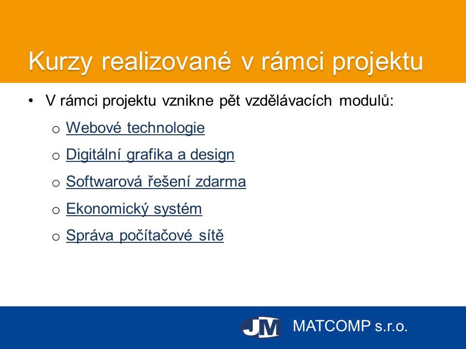 MATCOMP s.r.o. Kurzy realizované v rámci projektu •V rámci projektu vznikne pět vzdělávacích modulů: o Webové technologie Webové technologie o Digitál