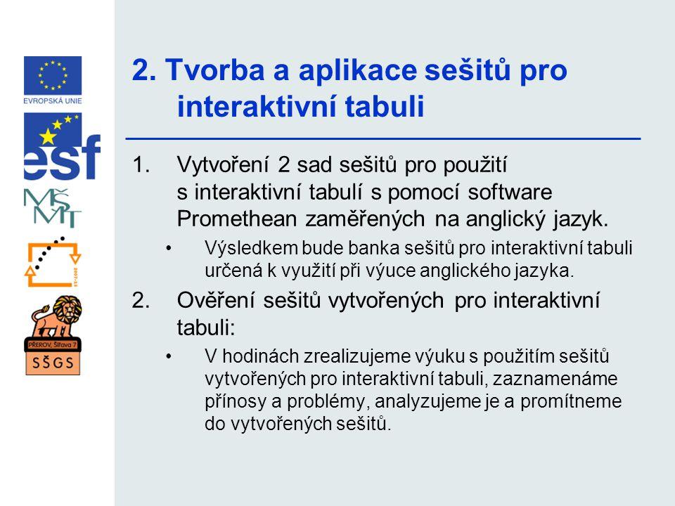 2. Tvorba a aplikace sešitů pro interaktivní tabuli 1.Vytvoření 2 sad sešitů pro použití s interaktivní tabulí s pomocí software Promethean zaměřených