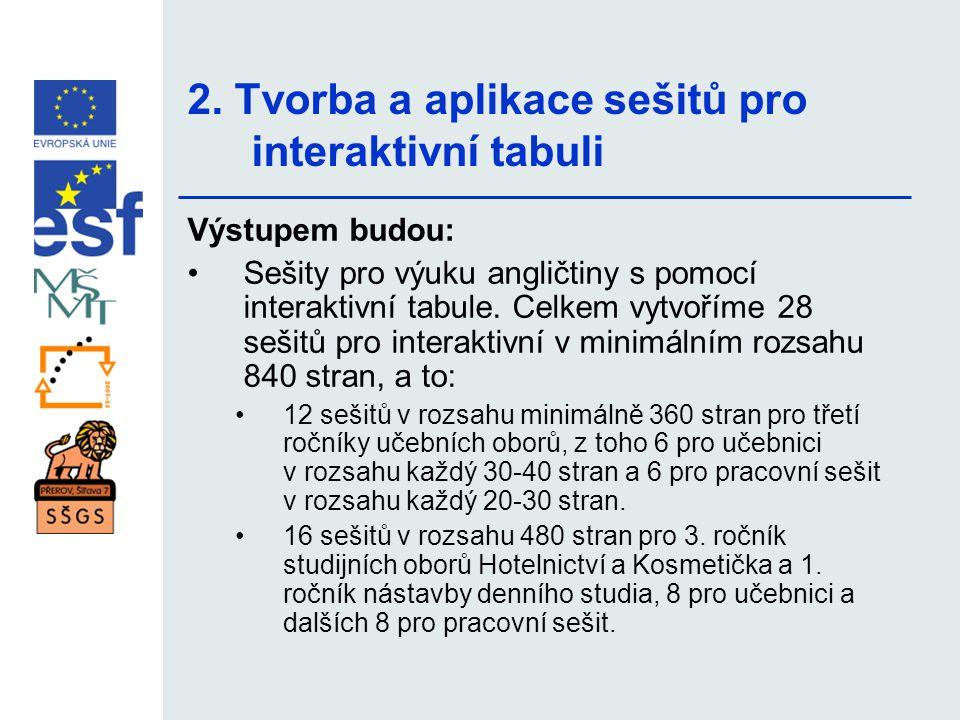 2. Tvorba a aplikace sešitů pro interaktivní tabuli Výstupem budou: •Sešity pro výuku angličtiny s pomocí interaktivní tabule. Celkem vytvoříme 28 seš
