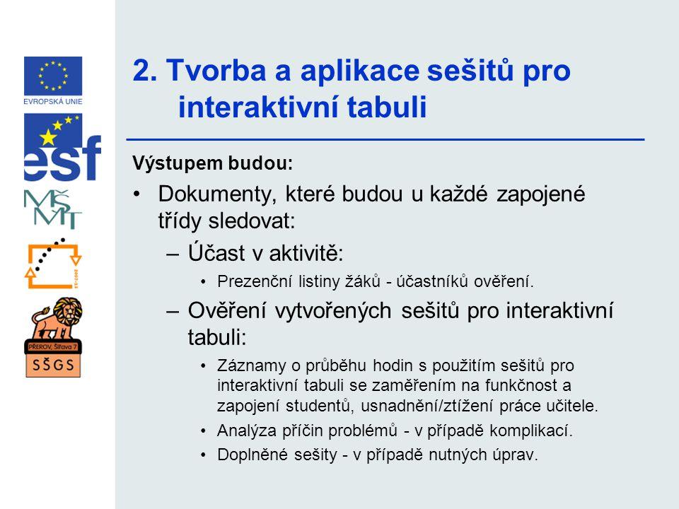 2. Tvorba a aplikace sešitů pro interaktivní tabuli Výstupem budou: •Dokumenty, které budou u každé zapojené třídy sledovat: –Účast v aktivitě: •Preze
