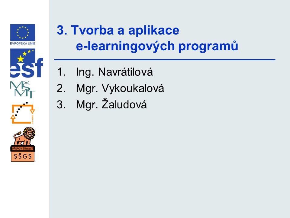 3. Tvorba a aplikace e-learningových programů 1.Ing. Navrátilová 2.Mgr. Vykoukalová 3.Mgr. Žaludová