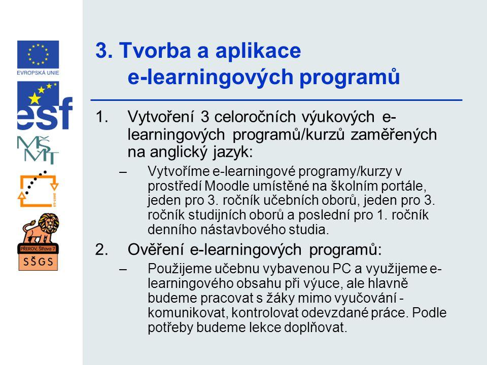 3. Tvorba a aplikace e-learningových programů 1.Vytvoření 3 celoročních výukových e- learningových programů/kurzů zaměřených na anglický jazyk: –Vytvo