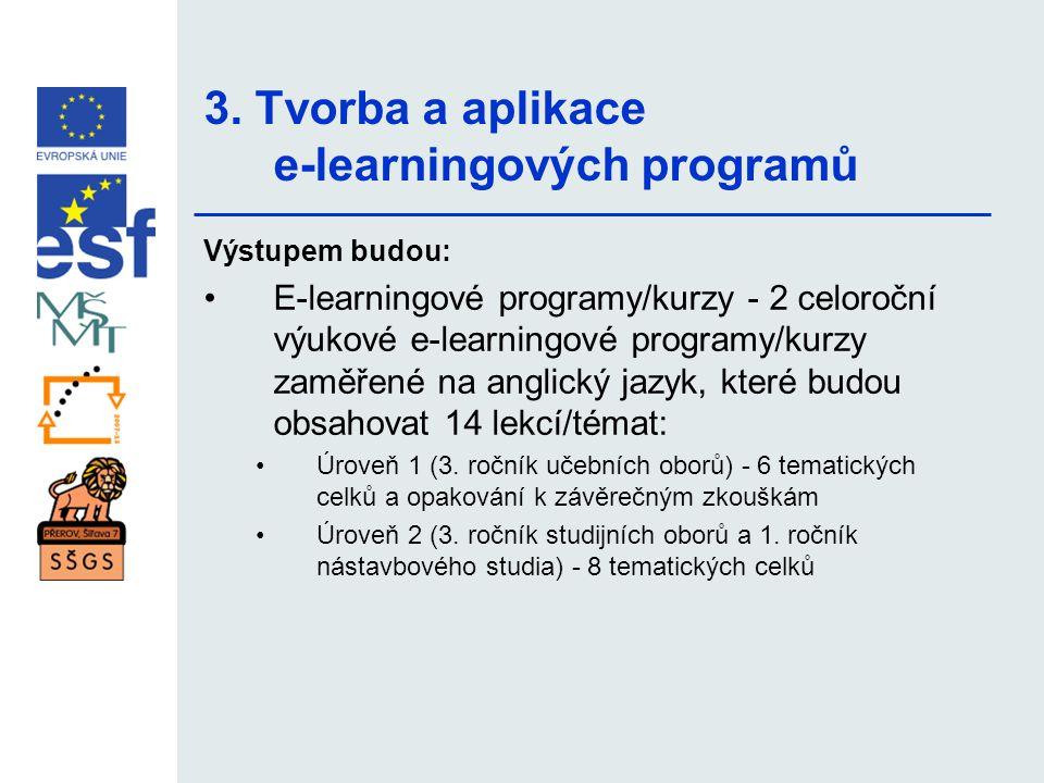 3. Tvorba a aplikace e-learningových programů Výstupem budou: •E-learningové programy/kurzy - 2 celoroční výukové e-learningové programy/kurzy zaměřen