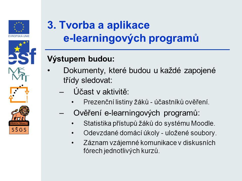 3. Tvorba a aplikace e-learningových programů Výstupem budou: •Dokumenty, které budou u každé zapojené třídy sledovat: –Účast v aktivitě: •Prezenční l