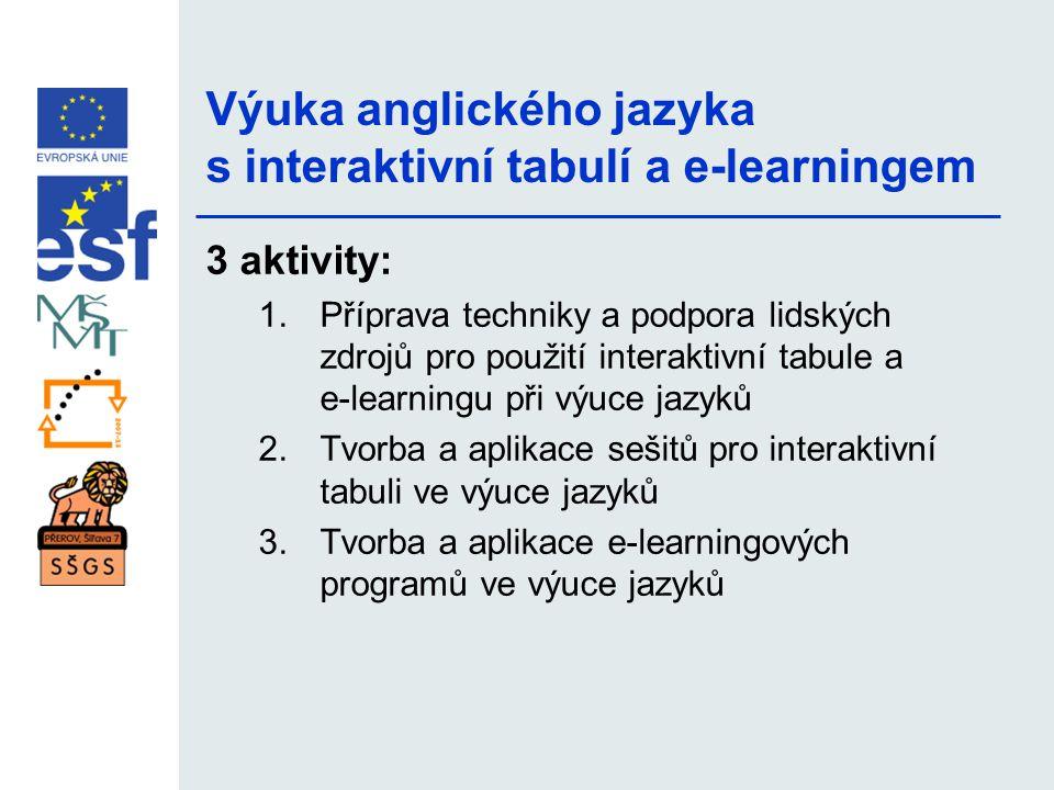 Výuka anglického jazyka s interaktivní tabulí a e-learningem 3 aktivity: 1.Příprava techniky a podpora lidských zdrojů pro použití interaktivní tabule