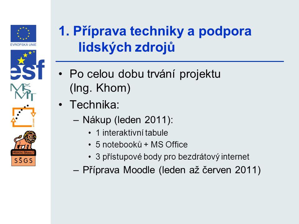 1. Příprava techniky a podpora lidských zdrojů •Po celou dobu trvání projektu (Ing. Khom) •Technika: –Nákup (leden 2011): •1 interaktivní tabule •5 no