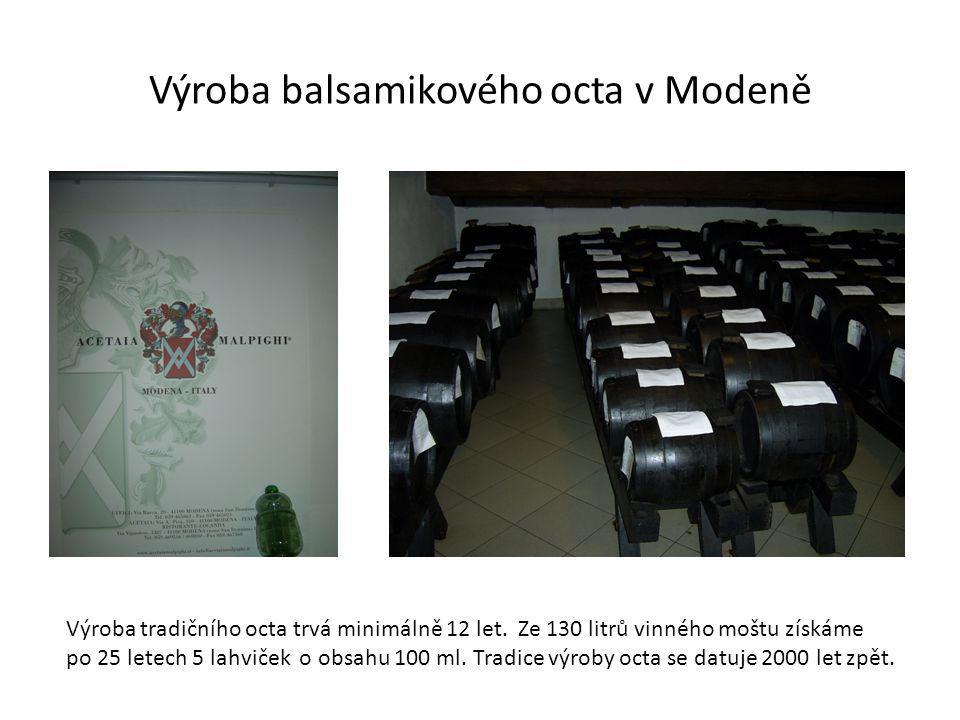 Výroba balsamikového octa v Modeně Výroba tradičního octa trvá minimálně 12 let.