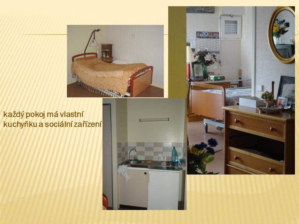 každý pokoj má vlastní kuchyňku a sociální zařízení