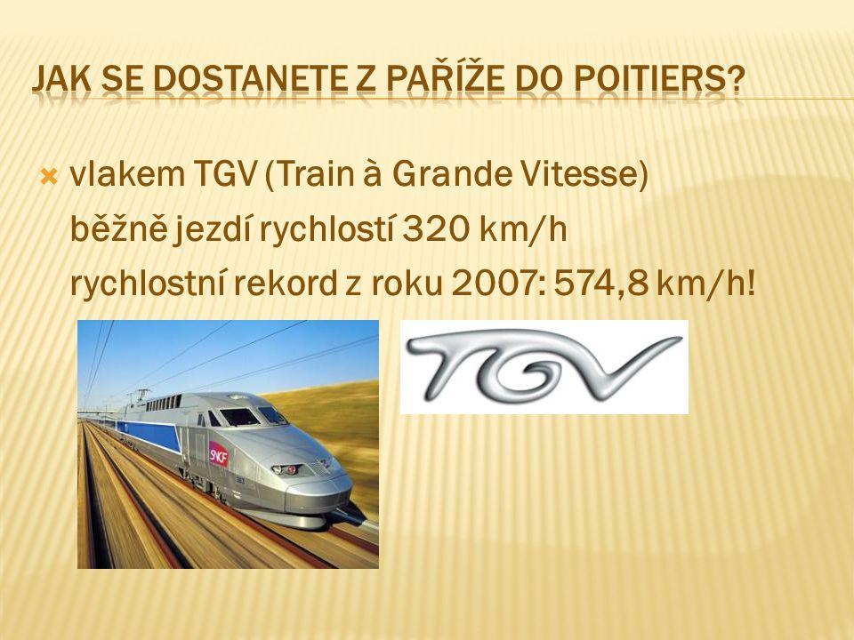  vlakem TGV (Train à Grande Vitesse) běžně jezdí rychlostí 320 km/h rychlostní rekord z roku 2007: 574,8 km/h!