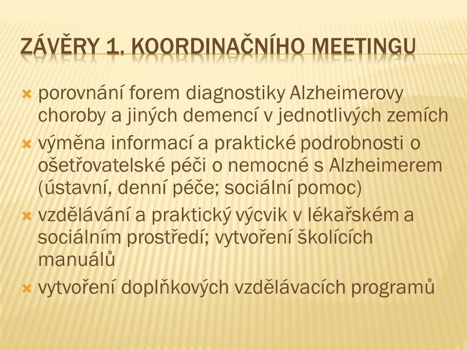  porovnání forem diagnostiky Alzheimerovy choroby a jiných demencí v jednotlivých zemích  výměna informací a praktické podrobnosti o ošetřovatelské péči o nemocné s Alzheimerem (ústavní, denní péče; sociální pomoc)  vzdělávání a praktický výcvik v lékařském a sociálním prostředí; vytvoření školících manuálů  vytvoření doplňkových vzdělávacích programů