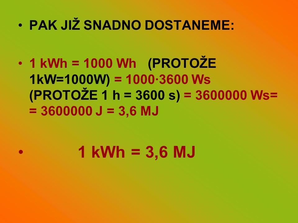 •PAK JIŽ SNADNO DOSTANEME: •1 kWh = 1000 Wh (PROTOŽE 1kW=1000W) = 1000·3600 Ws (PROTOŽE 1 h = 3600 s) = 3600000 Ws= = 3600000 J = 3,6 MJ • 1 kWh = 3,6