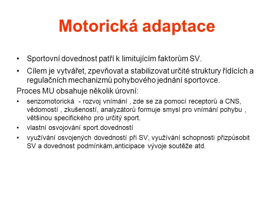 Motorická adaptace •Sportovní dovednost patří k limitujícím faktorům SV. •Cílem je vytvářet, zpevňovat a stabilizovat určité struktury řídících a regu