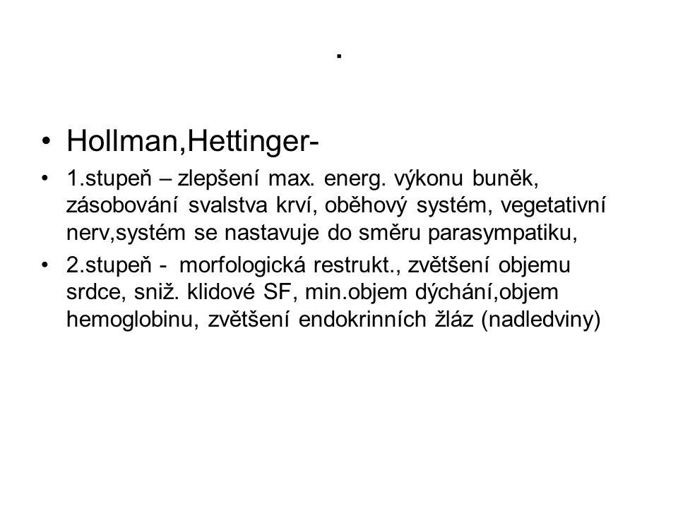 . •Hollman,Hettinger- •1.stupeň – zlepšení max. energ. výkonu buněk, zásobování svalstva krví, oběhový systém, vegetativní nerv,systém se nastavuje do