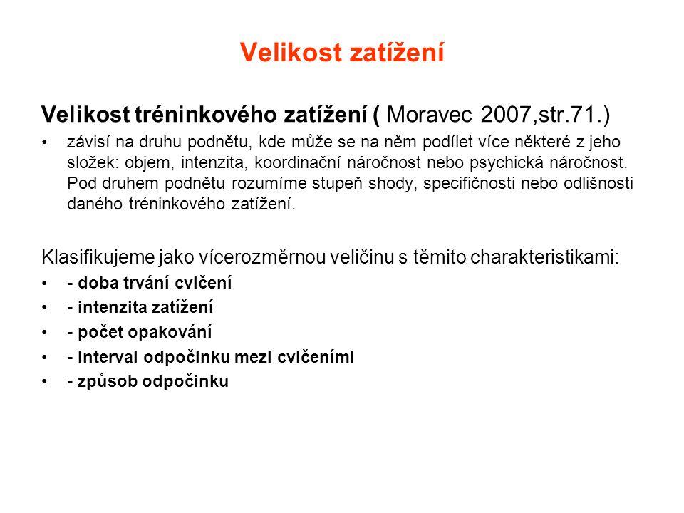 Velikost zatížení Velikost tréninkového zatížení ( Moravec 2007,str.71.) •závisí na druhu podnětu, kde může se na něm podílet více některé z jeho slož