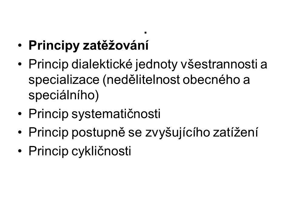 . •Principy zatěžování •Princip dialektické jednoty všestrannosti a specializace (nedělitelnost obecného a speciálního) •Princip systematičnosti •Prin