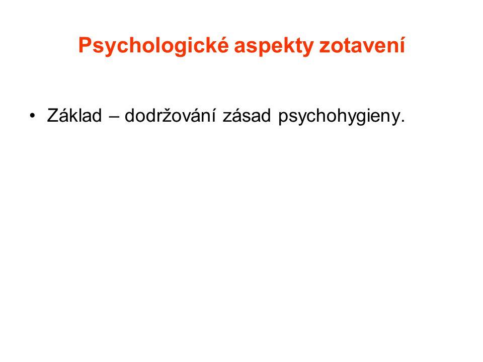 Psychologické aspekty zotavení •Základ – dodržování zásad psychohygieny.