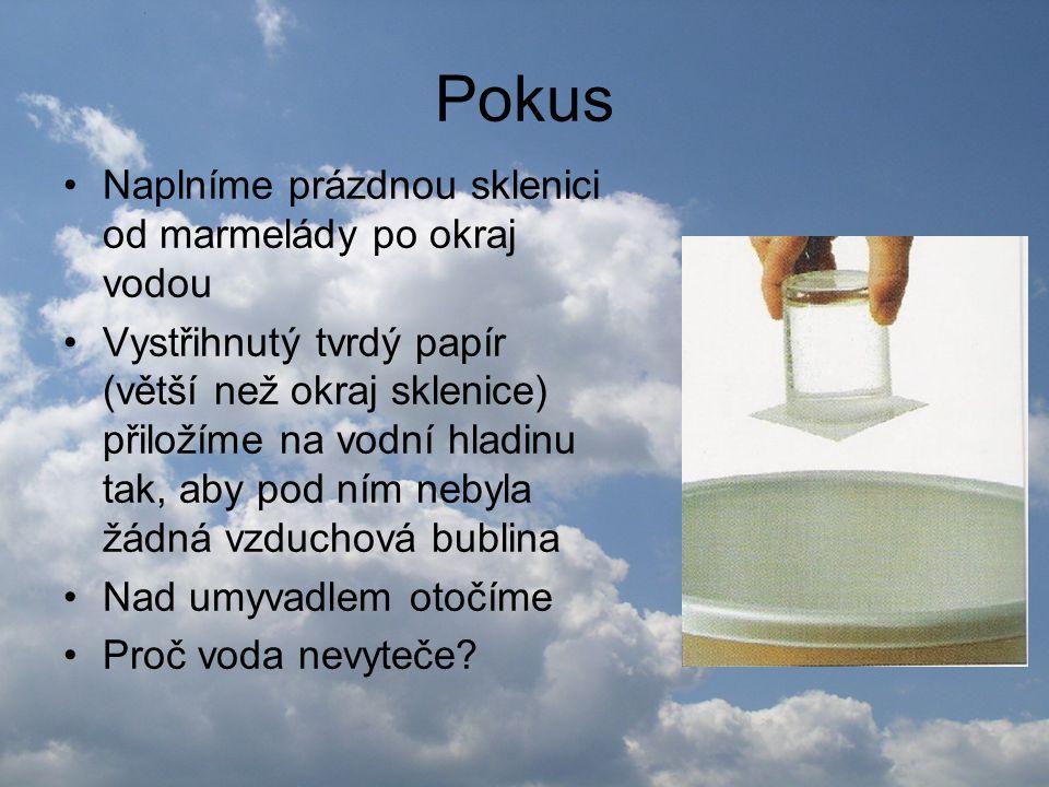 Pokus •Naplníme prázdnou sklenici od marmelády po okraj vodou •Vystřihnutý tvrdý papír (větší než okraj sklenice) přiložíme na vodní hladinu tak, aby