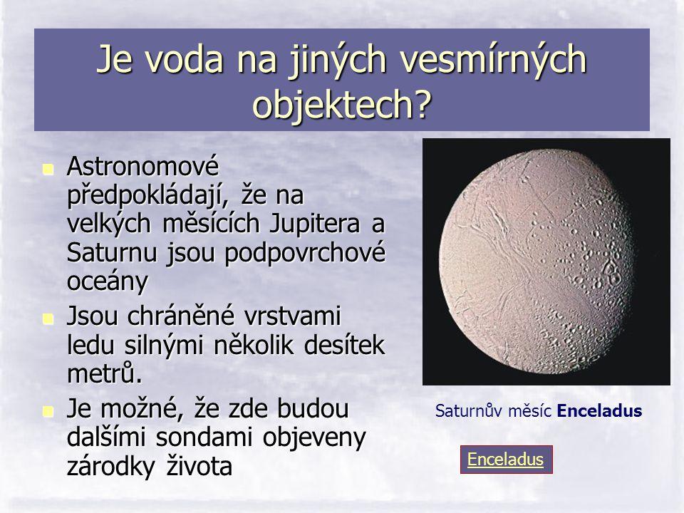 Je voda na jiných vesmírných objektech?  Astronomové předpokládají, že na velkých měsících Jupitera a Saturnu jsou podpovrchové oceány  Jsou chráněn