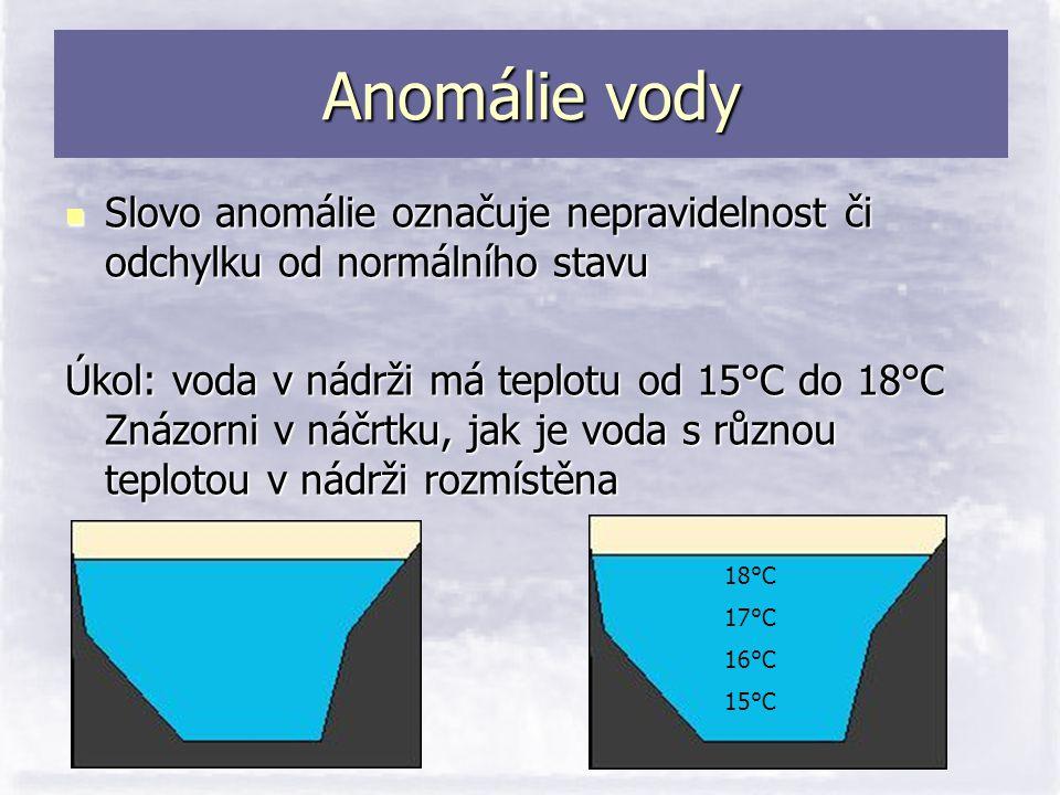 Anomálie vody  Slovo anomálie označuje nepravidelnost či odchylku od normálního stavu Úkol: voda v nádrži má teplotu od 15°C do 18°C Znázorni v náčrt