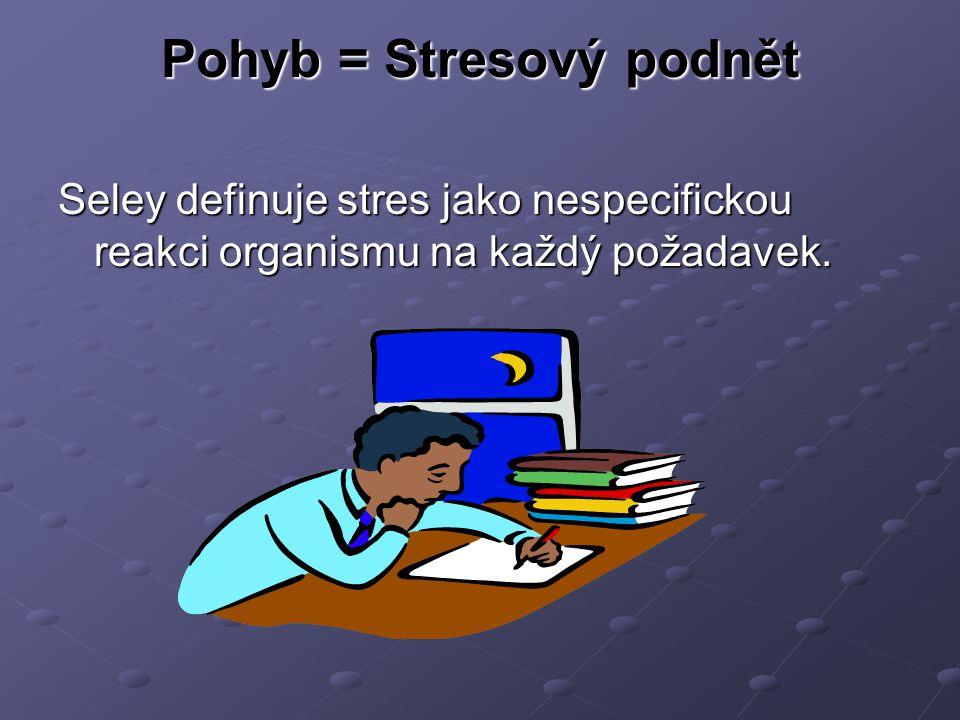 Stres A)Pozitivní (eustres) – při sportu, zábavě, sexu B)Negativní (distres) – snažíme se mu vyhnout