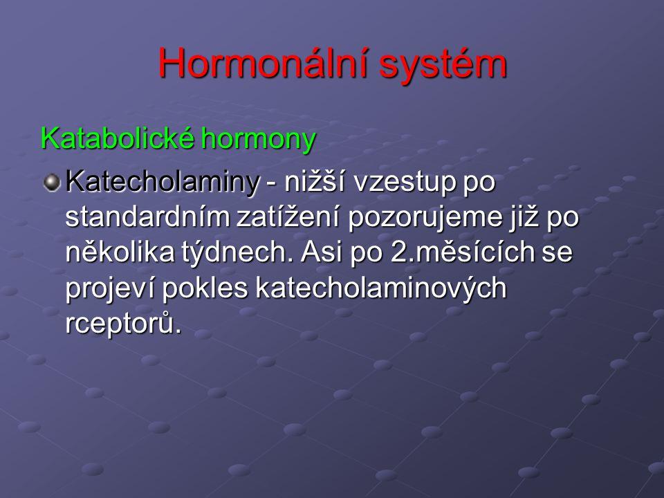 Hormonální systém Katabolické hormony Katecholaminy - nižší vzestup po standardním zatížení pozorujeme již po několika týdnech. Asi po 2.měsících se p