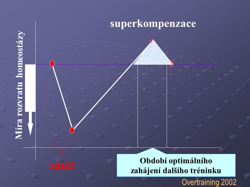 Míra rozvratu homeostázy superkompenzace Období optimálního zahájení dalšího tréninku zátěž Posun a rozšíření Overtraining 2002