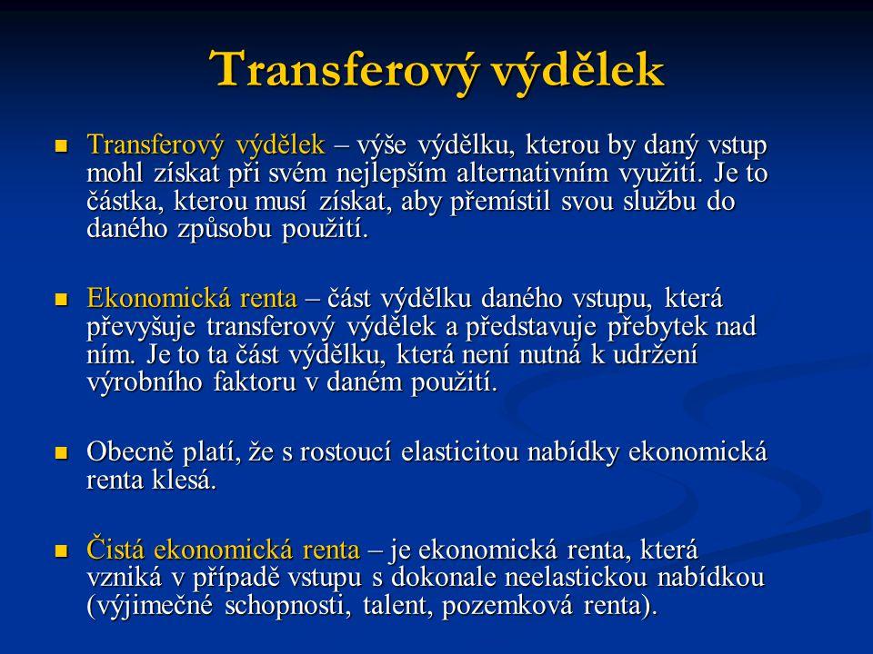 Transferový výdělek  Transferový výdělek – výše výdělku, kterou by daný vstup mohl získat při svém nejlepším alternativním využití. Je to částka, kte